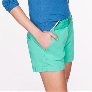 J. Crew Green Chino Shorts Size 2